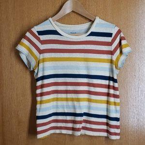 Fun Striped Madewell Cotton SS Crop Shirt S